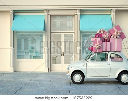 car with many presents on roof. 3d rendering