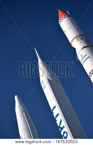 Dnipro City, Ukraine - October 15, 2014: Spacecraft and space transport stands in rocket garden