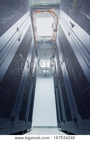 racks in the data center and the corridor between them