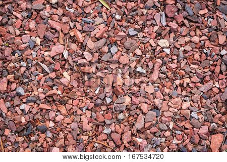Stone rubble background. Pattern formed by crushed granite. Texture.