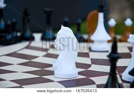 Chess Game. Chess Pieces On The Hexagonal Board.