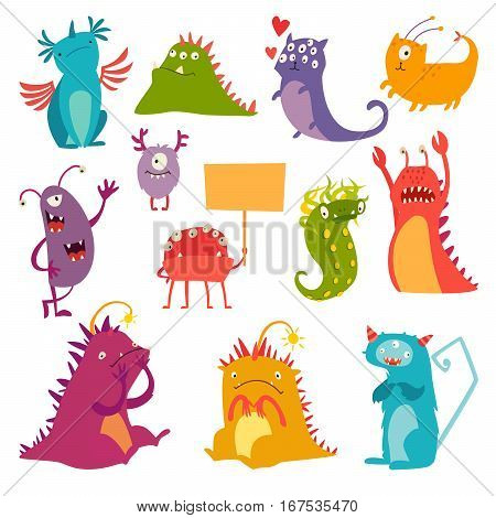 Monsters vector set. Kids cartoon toy colorful cute character. Vivid fabulous incredible creatures. Monsters with lot of eyes and wings. Happy cheerful creature cyclops. Isolated on white background