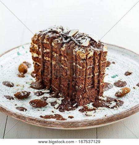 Beautiful dessert on a table. Delicious chocolate Spartak cake served on a beautiful rustic plate. International haute cuisine dessert.