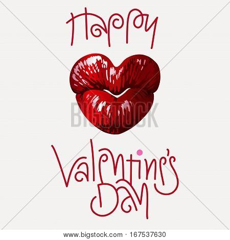 Heart shaped female lips, love symbol. Vector graphic design for Valentine's Day greeting card, t shirt, cosmetic ads etc. Detailed version.