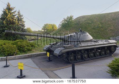 Old Soviet heavy tank T-10 on muzanoy site. Kiev Ukraine