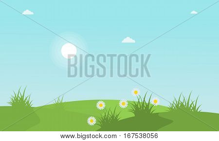 Spring with flower landscape collection stock vector illustration