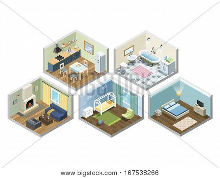 Vector isometric sat of home or flat furniture, Different kind of rooms, Living room, bedroom, bathroom, kitchen, kids room. 3d flat interior design icons.