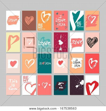 Vector collection of 24 cute Valentines cards. Printable template adapted for A4 and similar formats. Hand drawn elements by brush. Happy Valentine's Day