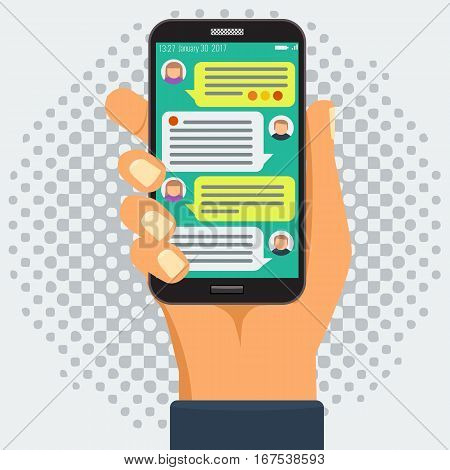 Chatting with chatbot on phone, online conversation with texting message flat vector concept and halftone grunge style background
