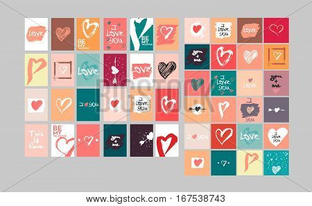 Vector collection of 48 cute Valentines cards. Printable template adapted for quadratic A4 and similar formats. Hand drawn elements by brush. Happy Valentine's Day