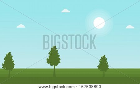 Landscape of tree at spring vector collection stock