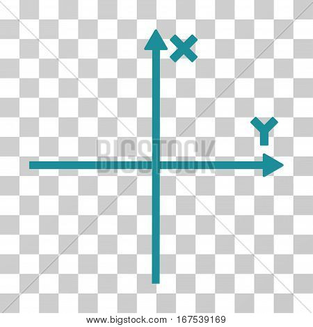 Cartesian Axes vector icon. Illustration style is flat iconic soft blue symbol on a transparent background.