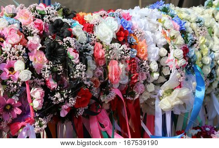 Coloured Headbands For Hair And Flowers To Decorate The Hairstyl