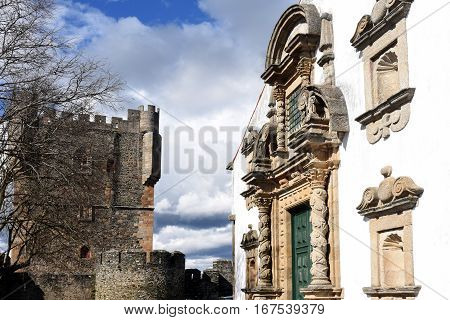 Tower of Castle and San Maria Church Braganca Tras-os-Montes Portugal