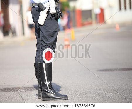 Traffic Warden Controls Traffic Blacks Wearing The Uniform With