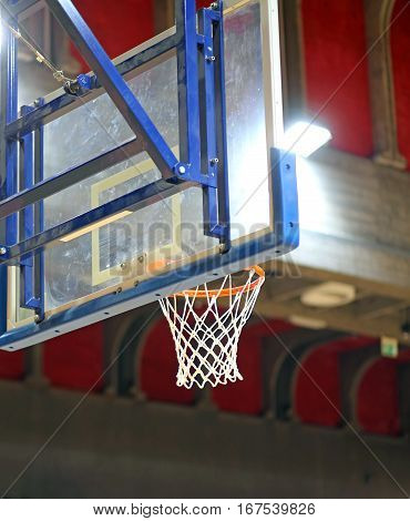Basket And Backboard Inside The Basketball Cour