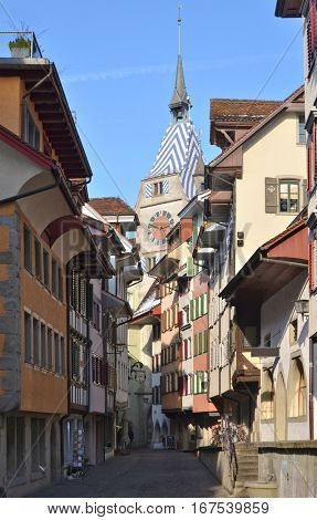 Colorful old buildings  in Zug, Switzerland