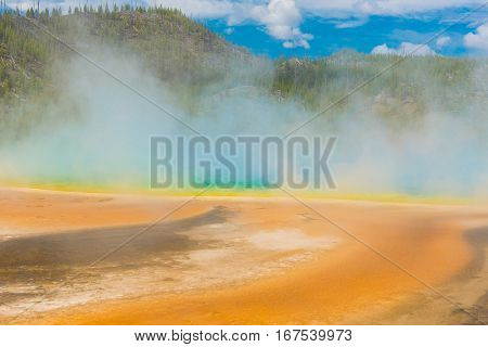 Detailed photo of steaming Grand Prismatic Spring. Yellowstone National Park, Wyoming, USA