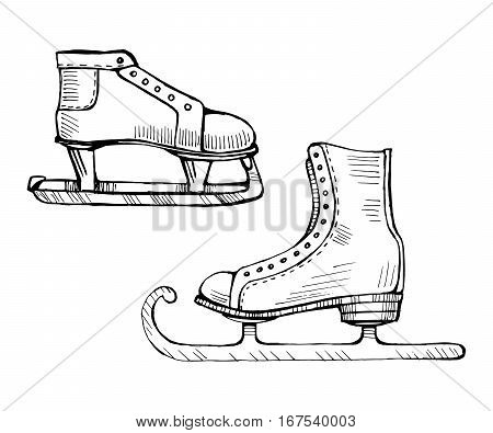 Old ice skates vector line illustration isolated on white background doodle sketch. Figure skating icon.