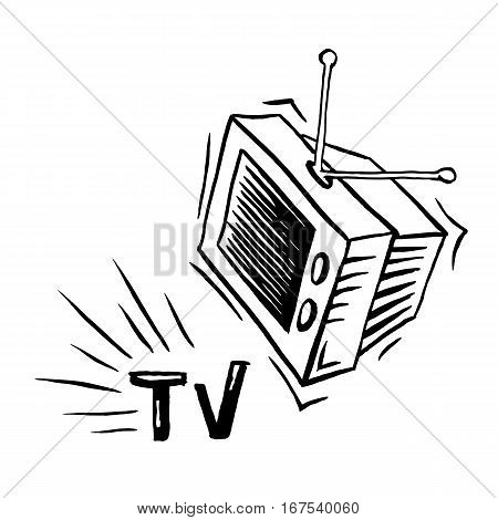 TV television cartoon vector illustration black and white. Hand drawn sketch style isolated on white background.