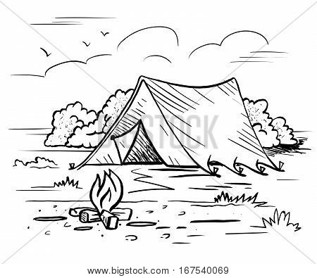 Hiking camping outdoor recreation concept with tent trees bonfire. Hand drawn landscape in sketch style vector illustration for tourism poster banner postcard.