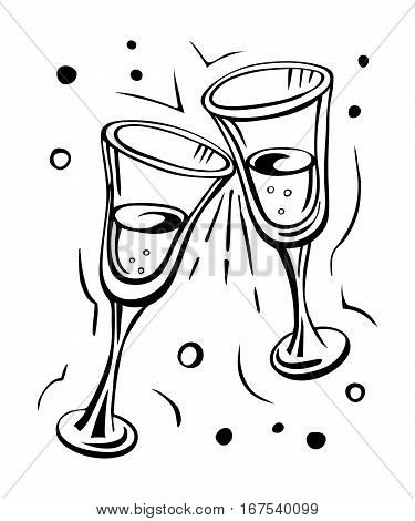Pair of champagne glasses sketch style vector illustration isolated on white background. Hand drawn drawing.