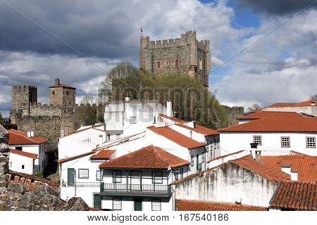 Castle and houses in the fortress of Braganca Tras os Montes Portugal