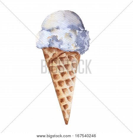 Vanilla ice cream in a cone. Isolated on white background. Watercolor illustration