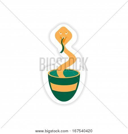 paper sticker Indian cobra in on white background