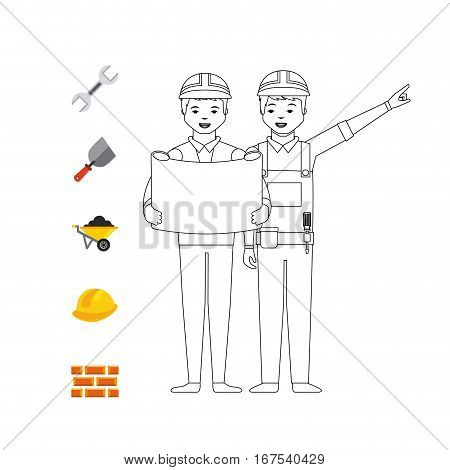 construction worker and Engineer and tools around over white background. under construction concept. colorful design. vector illustration