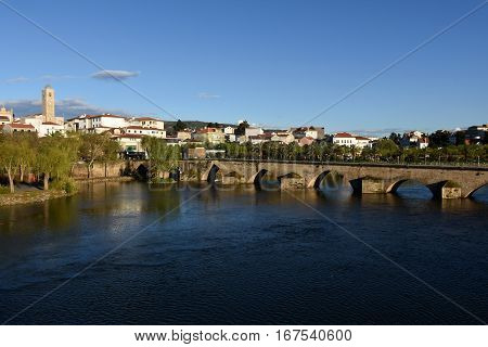 City and Romanesque bridge Mirandela Tras-os-Montes e Alto Douro Portugal