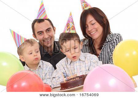 family celebrate birthday - birthday cake and lots of fun