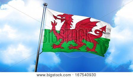 Wales flag, 3D rendering