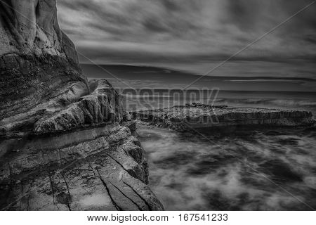 Flat Rock at Torrey Pines State Beach in California is captured in a long exposure.