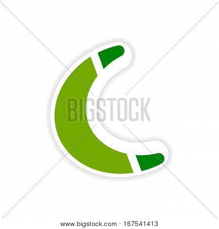 paper sticker Australian boomerang on white background