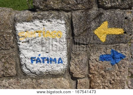 Direction indicator Fatima Saint James Way in Porto Portugal