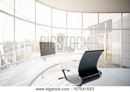 Contemporary office interior with empty pc display on rounded table chair and panoramic window with city view. Mock up 3D Rendering
