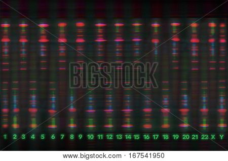 An abstract image depicts an idea of DNA and chromosomes.