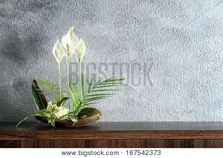 Flower arrangement on a color background
