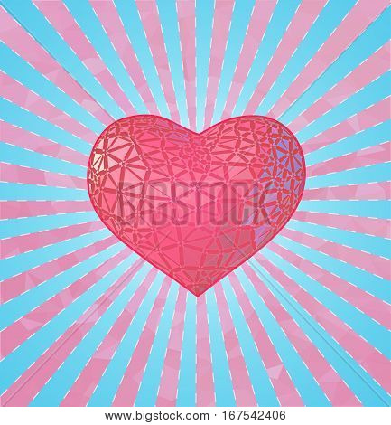 Glowing stylize triangular pink symbol heart with blue and pink shining and polygonal BG