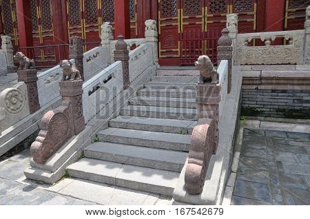 Stairs in Shenyang Imperial Palace Mukden Palace, Shenyang, Liaoning Province, China. Shenyang Imperial Palace is UNESCO world heritage site built in 400 years ago.