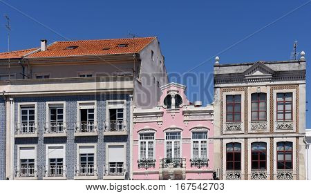 Facade of Architecture traditional in Aveiro Beiras region Portugal