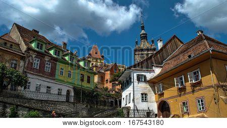 View of the Clock Tower in Sighisoara, Transylvania, Romania.