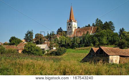 Old chapel in the village of Transylvania, Romania