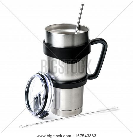 Aluminum thermos tumbler mug isolated on white background.