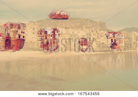 View on habour and old houses in Cefalu at sunset, Sicily. Beautiful townscape of old italian town. Modern Painting. Brushed artwork based on photo. Background texture. poster