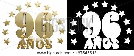 Golden digit ninety six and the word of the year decorated with stars. Translated from the Spanish. 3D illustration
