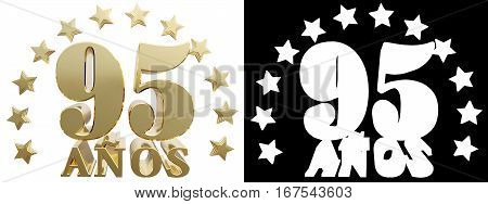 Golden digit ninety five and the word of the year decorated with stars. Translated from the Spanish. 3D illustration