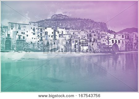 View on habour and old houses in Cefalu at sunset, Sicily. Beautiful townscape of old italian town. Modern Painting. Brushed artwork based on photo. Background texture.