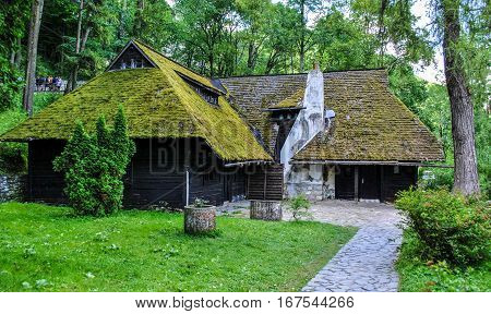 Old house on the territory of the Bran Castle in Romania